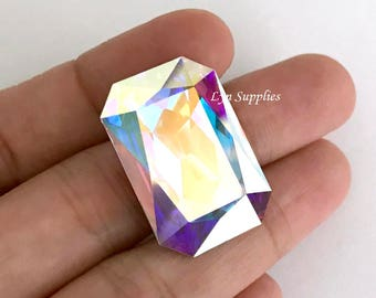 4627 CRYSTAL AB 27x18.5mm Swarovski Crystal Faceted Octagon, Large Rectangle Fancy Stone