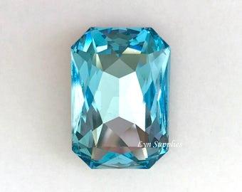 4627 AQUAMARINE 27x18.5mm Swarovski Crystal Octagon Fancy Stone, Light Blue March Birthstone