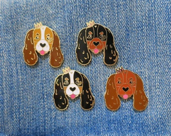 Cavalier King Charles Spaniel Lapel Pin with Butterfly Clasp // Puppy Dog, Hard Enamel, Cloisonne, Accesories, Flair