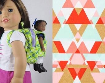 Mini Doll Backpack in Coral & Mint Geo