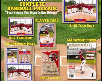 2017 Complete Baseball Template Package    Includes: Player Trading Card, Memory Mate, Magazine Cover, Group Shot  Photoshop Templates. Easy