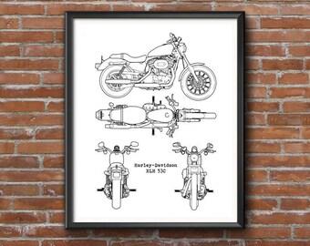"Harley Davidson Blueprint, Harley Davidson, XLH 53C, Instant Download, Blueprints, Harley Davidson Gift, Harley-Davidson Decor, 8x10, 11x14"""