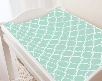 Carousel Designs Mint and White Lattice Circles Changing Pad Cover
