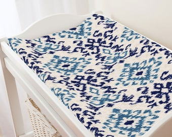 Carousel Designs Navy and Denim Ikat Damask Changing Pad Cover