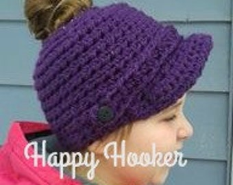 Ponytail Hat - Newsboy Hat - Pattern Only - Ponytail Hat Pattern