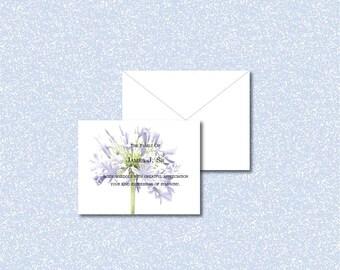 Sympathy thank you cards, Sympathy acknowledgment cards, bereavement cards, funeral cards, funeral thank you cards,purple lily funeral notes