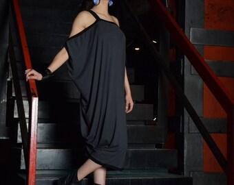 Gray dress, loose tunic, knee length dress, Gray and black dress, loose tunic, tunic dress/ plus size dress - UM-090-VL