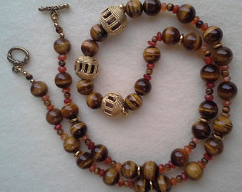 Handmade, hand crafted,  beaded, Tiger's eye necklace with gold filled