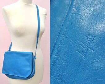 Vintage 1980s Electric Blue Leather Shoulder / Crossbody Bag