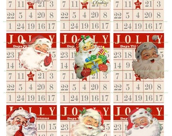 INSTANT DOWNLOAD Jolly Santas Bingo Cards Christmas Tags Printable Christmas Tags Red Bingo Card Santa Presents Jolly Santa Images Gift Tag
