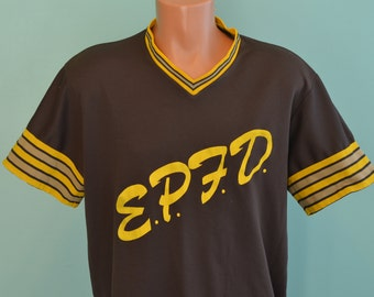 80s Baseball Jersey EPFD El Paso Fire Department Large Brown and Yellow Jersey