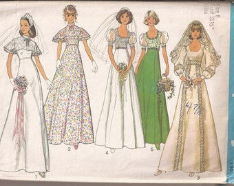 Simplicity 6940 Misses Bride and Bridesmaid Dress in 3 Versions, Size 8, Bust 31 1/2 Vintage 1975