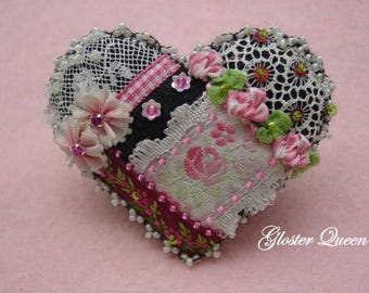 Crazy quilt heart pin with lovely vintage French ribbon with pink roses