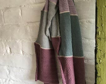 Grey, lovat and dusty lilac all-cotton knitted textured lightweight scarf for women or men