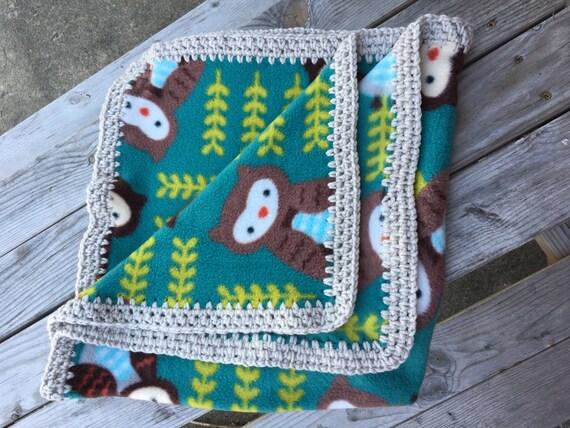 Owl Baby Blanket Crochet Edge Fleece Blanket Tummy Time