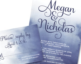 Watercolor Wedding Invitation | Ombre dip dyed Wedding Invitation | DIY Option Available | Invitation | RSVP | Info Card