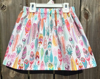 Girls Feather Skirt Girls Bohemian Skirt Girls Aztec Skirt Girls Southwestern Skirt Girls Birthday Skirt Party Skirt Girls Handmade Skirt