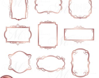 rose gold frame clipart digital clip art frames instant download rose gold clip art vector frame clipart downloads