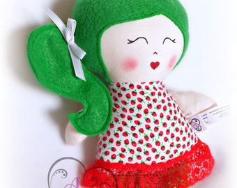 Little cloth doll, little rag doll, red and strawberry, green hair, hand painted face, little girl's doll, girl's toy