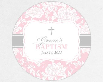Baptism Favor Tag, Baptism Favor Label, Christening Favor Tag, Christening Favor Label, Printed, Floral, Damask, Lace, Girl, Pink, Gracie