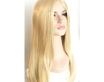 Ivory long straight blonde wig