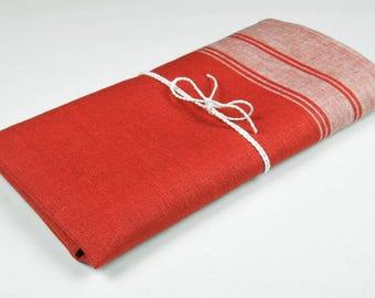 Red linen kitchen towel, red linen towel, pure linen towel, rustic linen towel, red flax towel, eco friendly towel, flax kitchen towel
