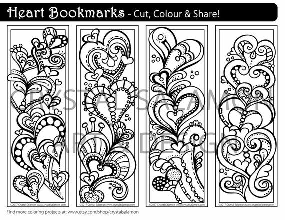 DOWNLOAD Heart Bookmarks to Color Unique Craft & Gift