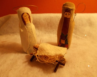 Vintage Hand Made Cloth Nativity - Baby Jesus in Manger with Mary and Joseph - Set of Three