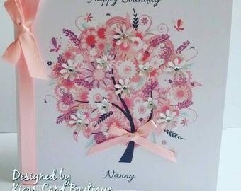 Handmade beautiful Pink Birthday Wedding Anniversary  day card  Mum Sister Grandma Nana Mam Auntie