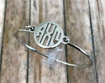 Alpha Chi Omega Monogram Style Bangle Bracelet   Sorority Bracelet   Alpha Chi Omega Bracelet   AChiO Bracelet   Alpha Chi Omega Jewelry