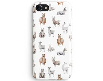 Watercolor Llama pattern - iPhone 7 case, Samsung galaxy S8 case iPhone 6 iphone 7 plus samsung galaxy S7 iphone SE 1P136A