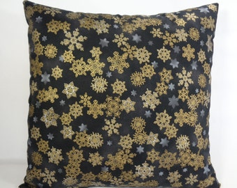 Black and Gold Pillow Cover, Christmas Pillow, 16 Inch Pillow, Snowflake Pillow