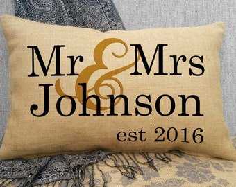 Mr & Mrs Burlap Wedding Pillow Personalized Last Name and Est Date, Wedding Date Pillow, Wedding Gift, Anniversary Gift, Keepsake SPS-007