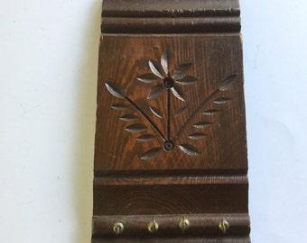 Vintage 60s Folk Art Carved Wooden Key Holder Wood Decor