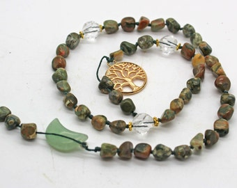 Rainforest Jasper Druid's Ladder - Witches Ladder, Pagan Prayer Beads, Wicca, Witch Mala, Hecate's Key, Pagan Jewelry