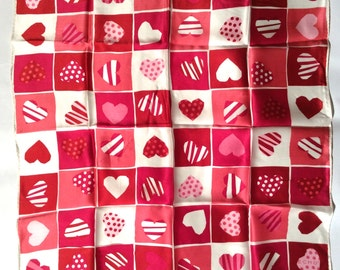 Vintage 1990s Echo Heart Silk Scarf/Perfect Valentines Gift!
