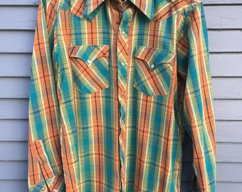Pearl Snap Western Shirt, Small, Excellent, Cotton, Colorful