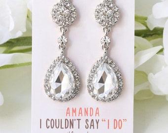 Bridesmaid Earrings Clip On, Bridesmaids Gift, Silver Bridesmaid Earrings, Silver Bridesmaid Gifts, Silver Drop Earrings E307S-CLIP