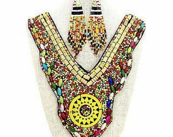 Maria Multi Bead Pattern Bib Statement Necklace Earring Set