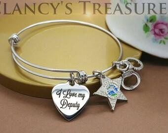 Florida Sheriff's Star / I love my Deputy Charm / Stainless Steel Wire Bangle Bracelet / Law Enforcement Bracelet, Sheriff's Deputy Bracelet