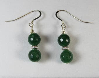 Genuine Malaysian Jade & Sterling Silver Earrings/ Jade Earrings/ Handmade/ Hand Crafted