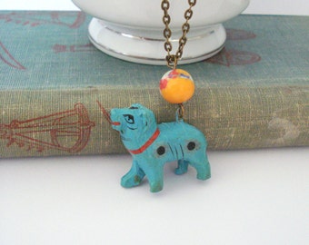 Colourful Wooden Necklace, Wooden Animal Jewelry, Bohemian Jewelry, African Style Necklace