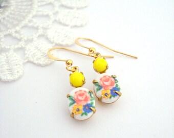 Floral Dangle Earrings, Antique Roses Earrings, Limoges Earrings, Vintage Jewel Earrings, Colorful Earrings, Gift for Her