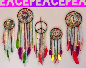 15% off! Rainbow Peace Sign Dream Catcher ~*~ 8 in dreamcatcher