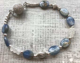 Kyanite and Sterling Silver bracelet with Fancy Sterling Magnetic Clasp
