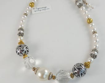 Silver Gold and Pearl Necklace