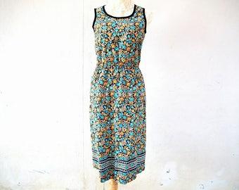 1990s vintage floral sleeveless midi dress size small