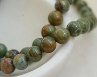 African Green Opal Beads, Natural African Opal Beads, Earthy Beads,  10mm Beads, Gemstone Beads, Natural Opal Beads, Strand, MAN15-003