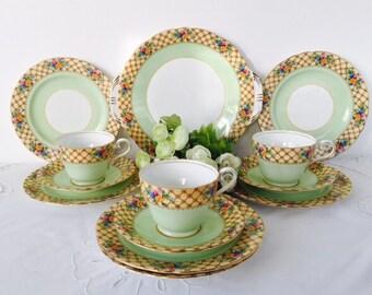 Aynsley Tea Set, Green & Yellow, Staffordshire, 1930s.