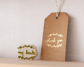 Thank you rubber stamp. Text word letter stamp. Hand carved stamp. Handmade stamp. Unmounted stamp.